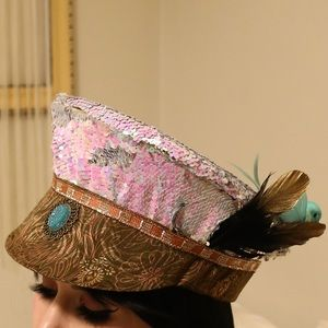 Reversible sequin Burning Man hat with feathers